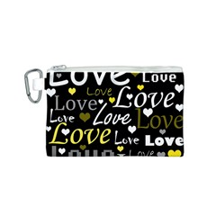 Yellow Love pattern Canvas Cosmetic Bag (S)