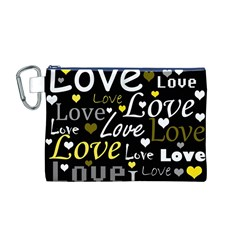 Yellow Love pattern Canvas Cosmetic Bag (M)