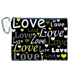 Yellow Love pattern Canvas Cosmetic Bag (XL)