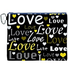 Yellow Love pattern Canvas Cosmetic Bag (XXXL)