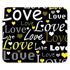 Yellow Love pattern Double Sided Flano Blanket (Small)