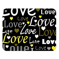 Yellow Love pattern Double Sided Flano Blanket (Large)