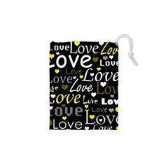 Yellow Love pattern Drawstring Pouches (XS)