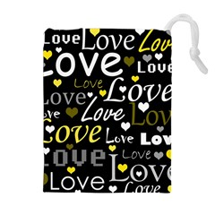 Yellow Love pattern Drawstring Pouches (Extra Large)