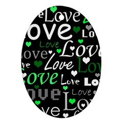 Green Valentine s day pattern Ornament (Oval)