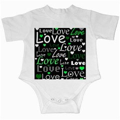 Green Valentine s day pattern Infant Creepers