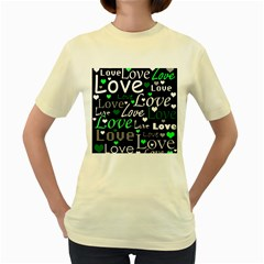 Green Valentine s day pattern Women s Yellow T-Shirt