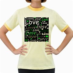 Green Valentine s day pattern Women s Fitted Ringer T-Shirts