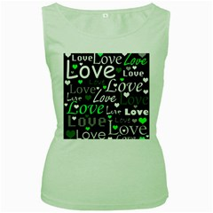 Green Valentine s day pattern Women s Green Tank Top