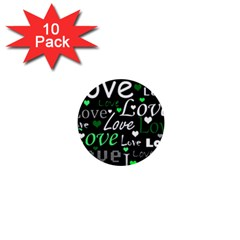 Green Valentine s day pattern 1  Mini Buttons (10 pack)