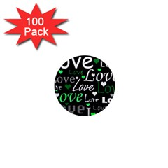 Green Valentine s day pattern 1  Mini Magnets (100 pack)