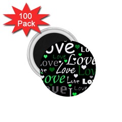 Green Valentine s Day Pattern 1 75  Magnets (100 Pack)