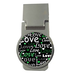 Green Valentine s day pattern Money Clips (Round)