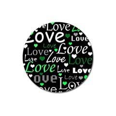 Green Valentine s day pattern Magnet 3  (Round)