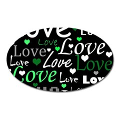 Green Valentine s day pattern Oval Magnet