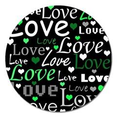 Green Valentine s day pattern Magnet 5  (Round)