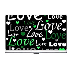 Green Valentine s day pattern Business Card Holders