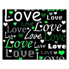 Green Valentine s day pattern Rectangular Jigsaw Puzzl