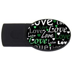 Green Valentine s day pattern USB Flash Drive Oval (4 GB)