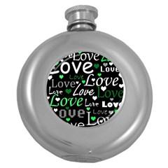 Green Valentine s day pattern Round Hip Flask (5 oz)