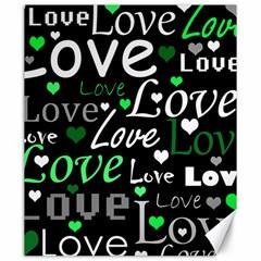 Green Valentine s day pattern Canvas 20  x 24