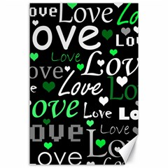 Green Valentine s day pattern Canvas 24  x 36
