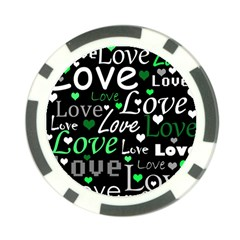 Green Valentine s day pattern Poker Chip Card Guards