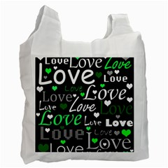 Green Valentine s day pattern Recycle Bag (Two Side)