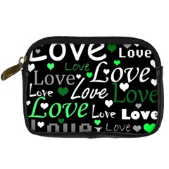 Green Valentine s day pattern Digital Camera Cases