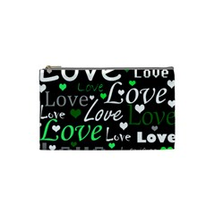 Green Valentine s day pattern Cosmetic Bag (Small)