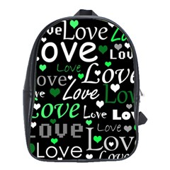 Green Valentine s day pattern School Bags(Large)