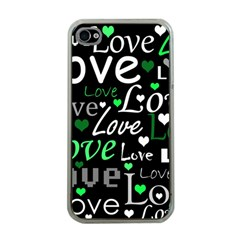 Green Valentine s day pattern Apple iPhone 4 Case (Clear)