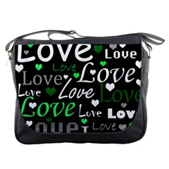 Green Valentine s day pattern Messenger Bags
