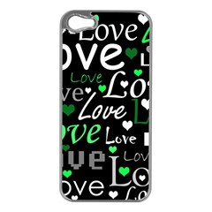 Green Valentine s day pattern Apple iPhone 5 Case (Silver)