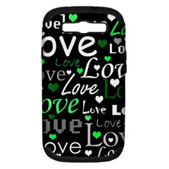 Green Valentine s day pattern Samsung Galaxy S III Hardshell Case (PC+Silicone)