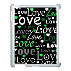 Green Valentine s day pattern Apple iPad 3/4 Case (White)