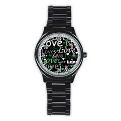 Green Valentine s day pattern Stainless Steel Round Watch