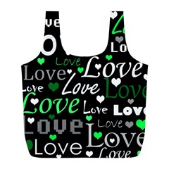 Green Valentine s day pattern Full Print Recycle Bags (L)