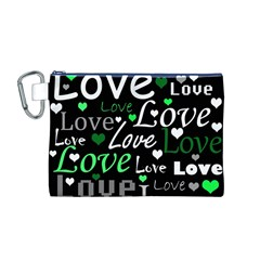 Green Valentine s day pattern Canvas Cosmetic Bag (M)