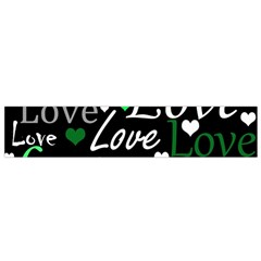 Green Valentine s day pattern Flano Scarf (Small)