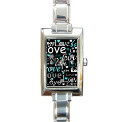 Valentine s day pattern - cyan Rectangle Italian Charm Watch