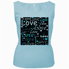 Valentine s day pattern - cyan Women s Baby Blue Tank Top