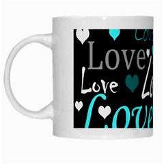 Valentine s day pattern - cyan White Mugs