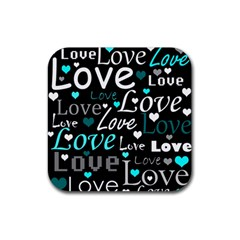 Valentine s day pattern - cyan Rubber Coaster (Square)