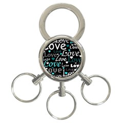 Valentine s day pattern - cyan 3-Ring Key Chains