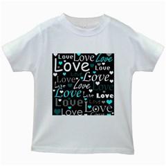 Valentine s day pattern - cyan Kids White T-Shirts