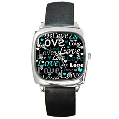 Valentine s day pattern - cyan Square Metal Watch