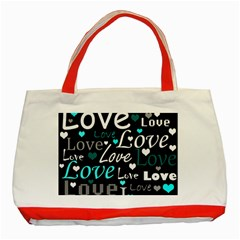 Valentine s day pattern - cyan Classic Tote Bag (Red)
