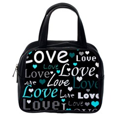 Valentine s day pattern - cyan Classic Handbags (One Side)