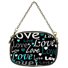 Valentine s day pattern - cyan Chain Purses (One Side)